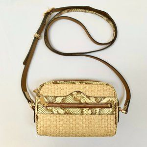 Gucci Mini GG Ophidia Straw Shoulder Bag Snakeskin